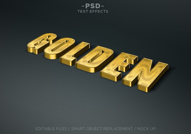 Bearbeitbare texteffekte im 3d-glitzer-goldenen stil Premium PSD