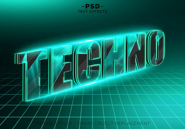 Bearbeitbarer text für 3d-technoeffekte Premium PSD
