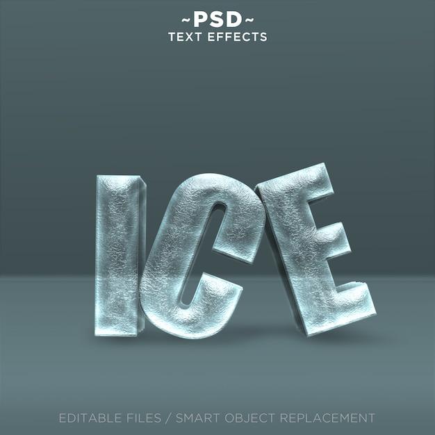 Bearbeitbarer text für realistische 3d-eiseffekte Premium PSD