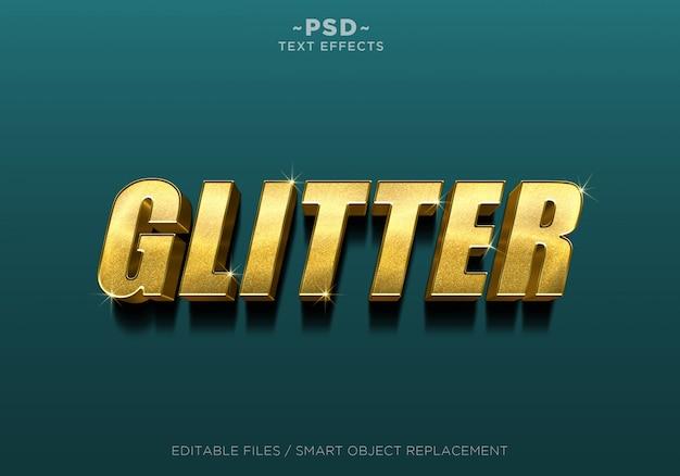 Bearbeitbarer text mit 3d-glitzer-goldeffekt Premium PSD