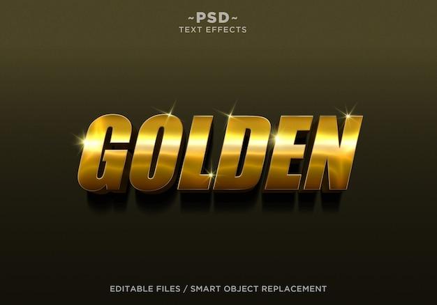 Bearbeitbarer text mit 3d golden style 4-effekt Premium PSD