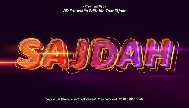 Bearbeitbarer texteffekt 3d sajdah Premium PSD