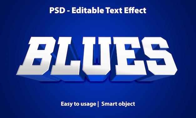 Bearbeitbarer texteffekt-blues Premium PSD