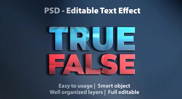 Bearbeitbarer texteffekt richtig falsch Premium PSD