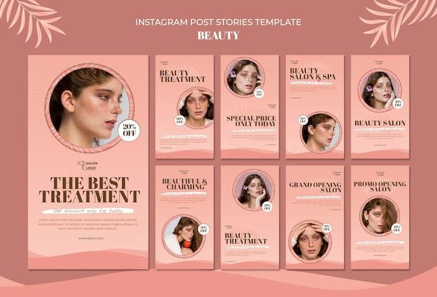 Beauty instagram post geschichten vorlage Kostenlosen PSD