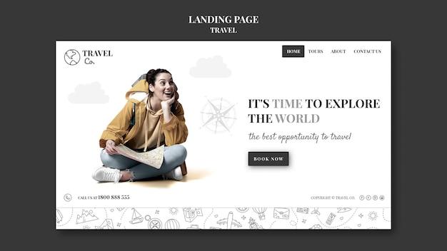 Bereise die welt-landingpage Kostenlosen PSD