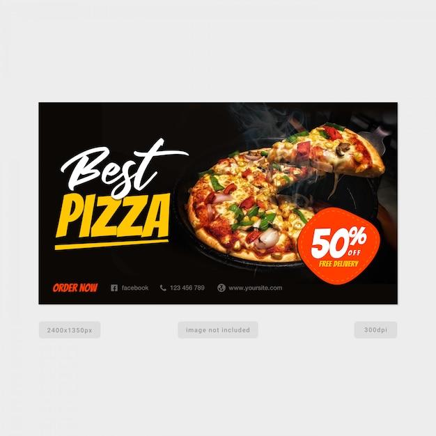 Beste pizza twitter post banner vorlage Premium PSD