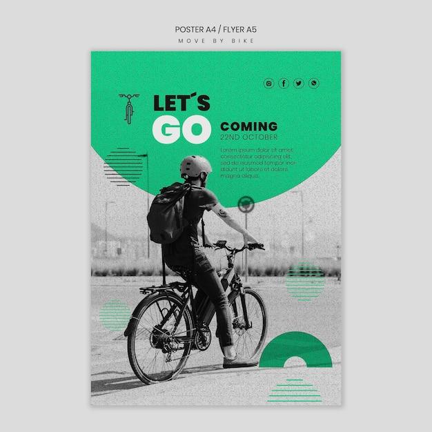 Bewegen sie sich durch fahrradplakatthema Kostenlosen PSD
