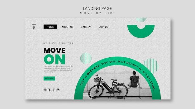 Bewegen sie sich mit dem fahrrad landing page design Kostenlosen PSD