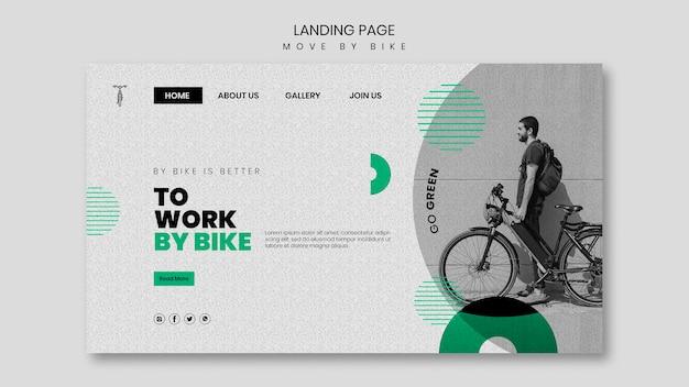 Bewegen sie sich mit dem fahrrad landing page thema Kostenlosen PSD