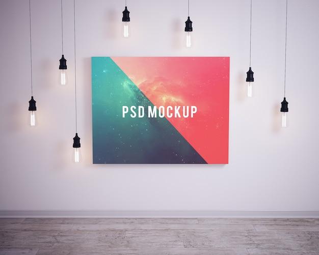 Bild an der wand mit blasen lichter mock up Premium PSD