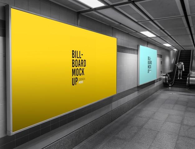 Billboard mockup in der u-bahn oder u-bahnstation Premium PSD