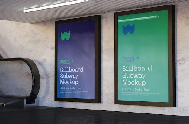Billboard mockup in der u-bahnstation Premium PSD