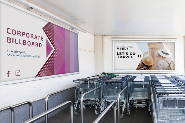 Billboard-modell mit einkaufswagen Kostenlosen PSD