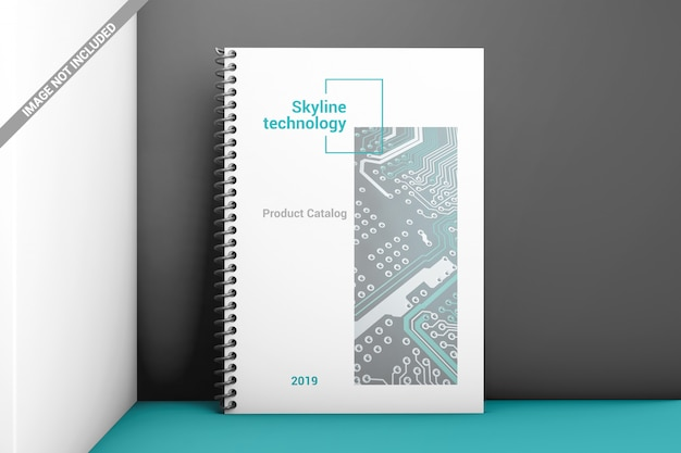 Bindungsmodell des stehenden gewundenen plastikbuches der vorderansicht Premium PSD