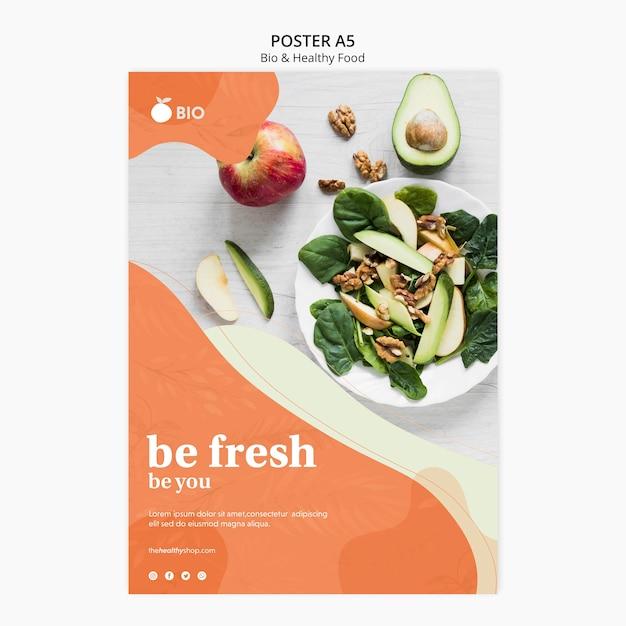 Bio & gesunde ernährung konzept poster Kostenlosen PSD