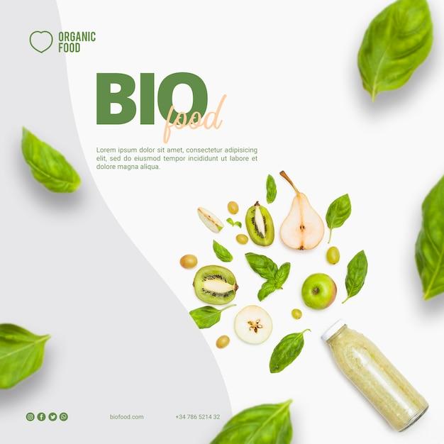 Bio-lebensmittel quadratische banner vorlage Kostenlosen PSD
