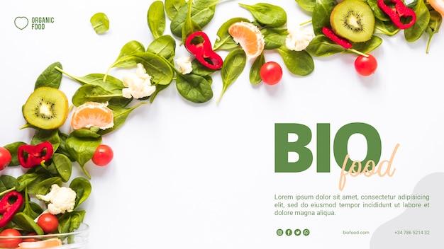 Biolebensmittel-fahnenschablone mit foto Kostenlosen PSD