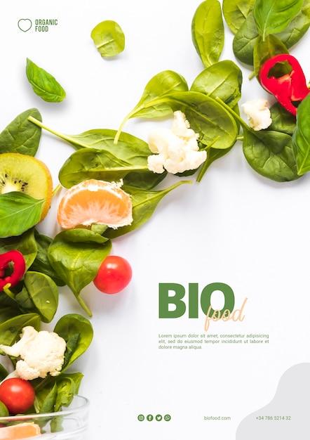 Biolebensmittel-flyer-vorlage mit foto Kostenlosen PSD