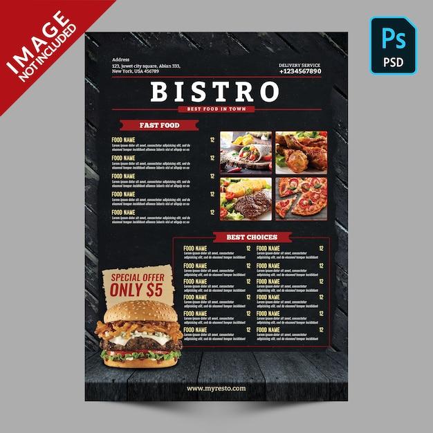 Bistro restaurant menüvorlage Premium PSD