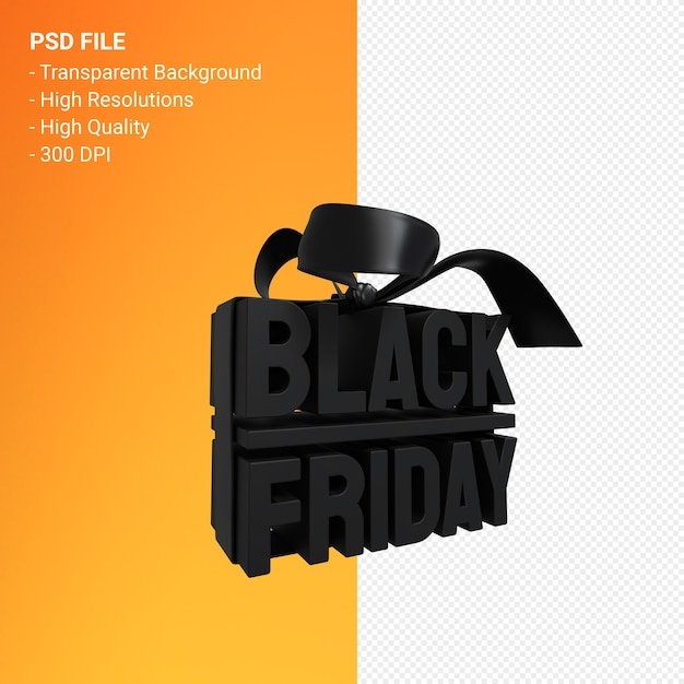 Black friday sale 3d-design-rendering für verkaufsförderung mit bogen und band isoliert Premium PSD