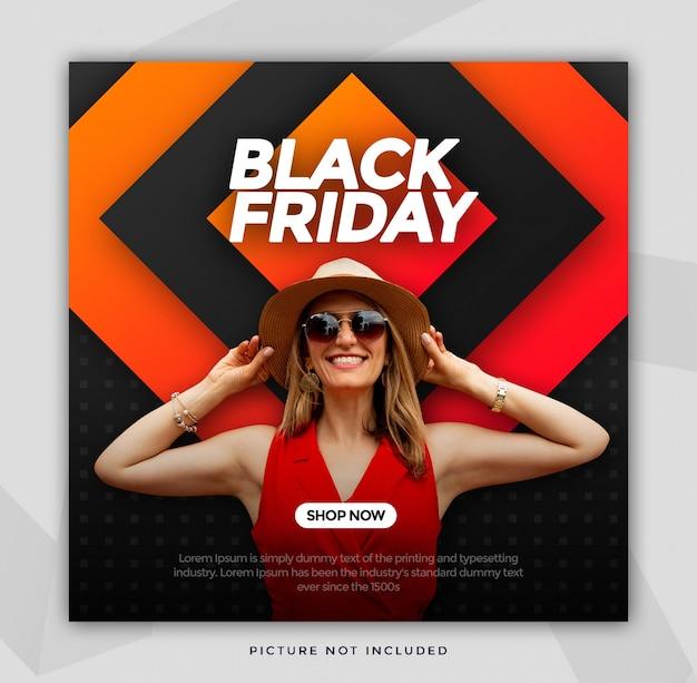 Black friday sale banner quadratische größe für instagram Premium PSD