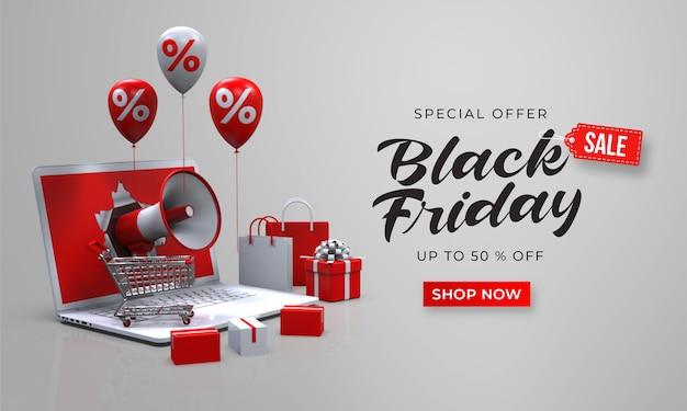 Black friday sale banner vorlage mit 3d-megaphon aus dem laptop Premium PSD