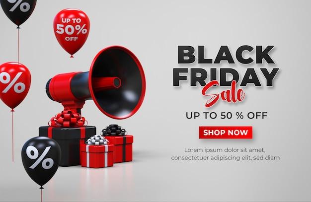 Black friday sale banner vorlage mit geschenkbox, megaphon und luftballons Premium PSD