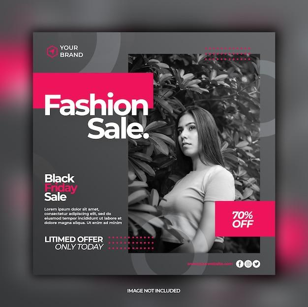 Black friday sale dynamische elegante instagram banner vorlage Premium PSD