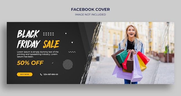 Black friday sale facebook timeline cover und web-banner-vorlage Premium PSD