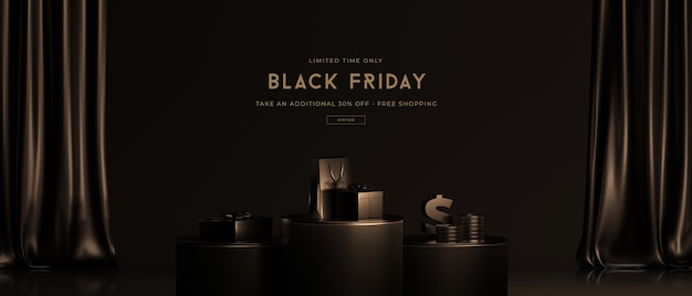 Black friday sale-modell in 3d-rendering Premium PSD