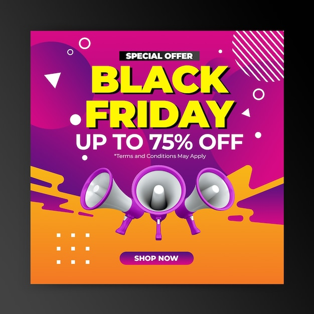 Black friday sonderangebot promotion für instagram post design vorlage Premium PSD