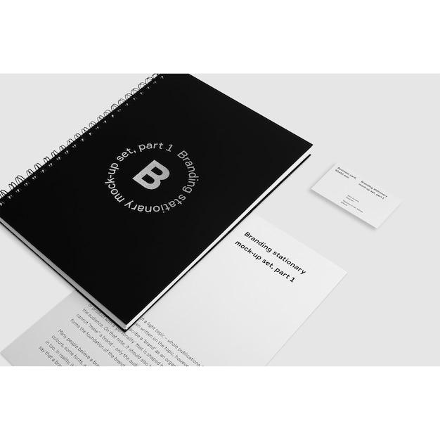 Black Notizbuch Mit Visitenkarte Mock Up Kostenlose Psd Datei