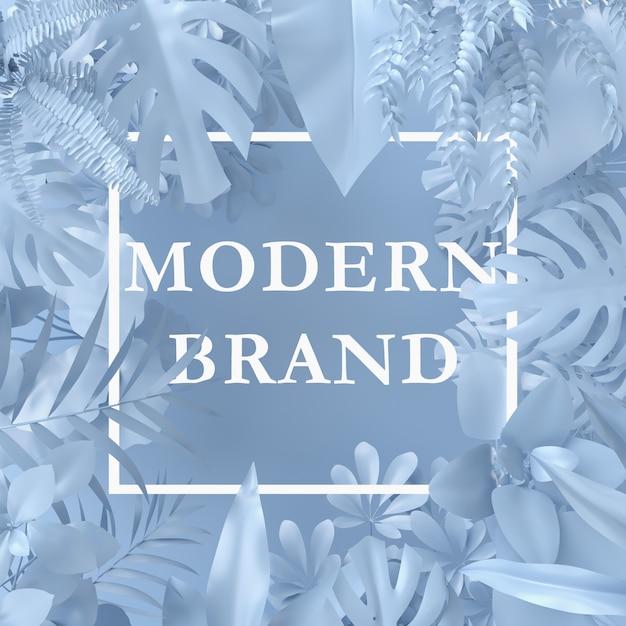 Blaue farbe des kreativen plans gemacht von den anlagen mit papierkartenanmerkung. natur-konzept. Premium PSD