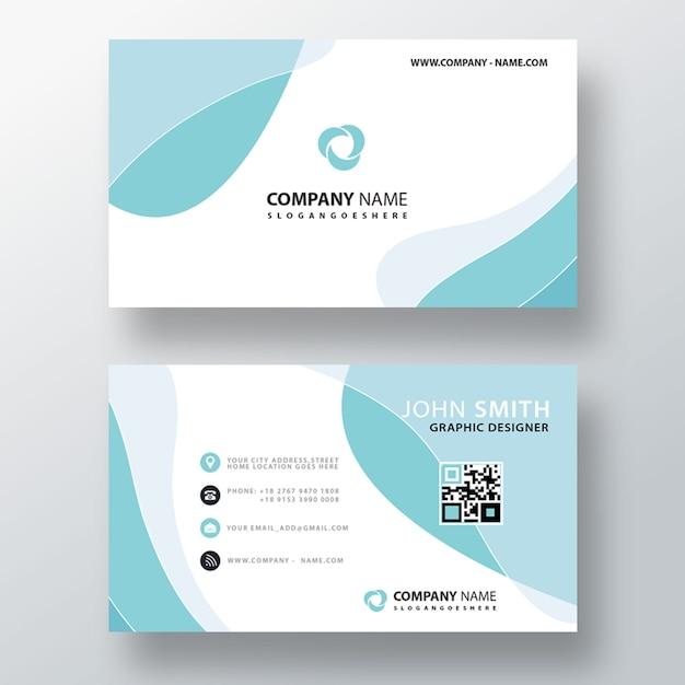 Blaue wellenförmige abstrakte visitenkarte Kostenlosen PSD