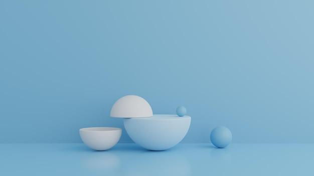 Blaues farbpodest der abstrakten geometrieform in der 3d-darstellung Premium PSD