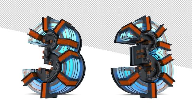Blaues neonlicht der 3d-nummer mit kupferdraht Premium PSD