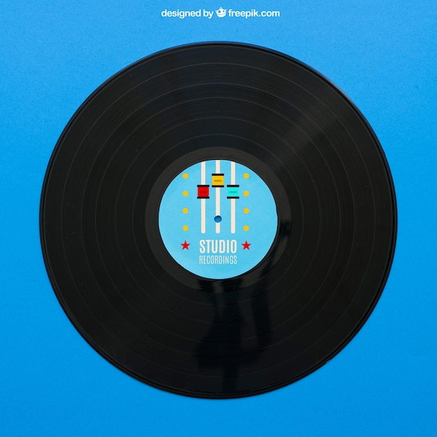 Blaues vinyl mockup Kostenlosen PSD