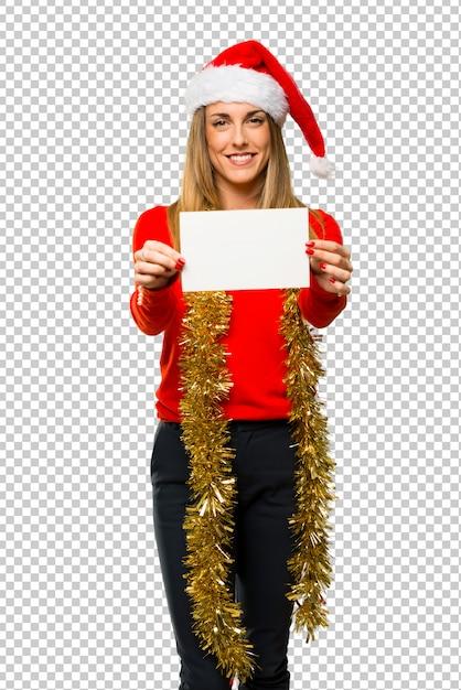 Blonde frau gekleidet für weihnachtsfeiertage Premium PSD