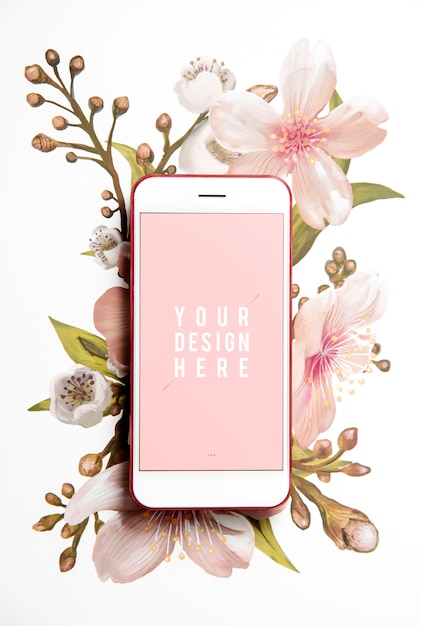 Blumen-handy-bildschirmmodell Kostenlosen PSD