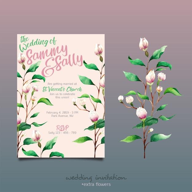 Blumen hochzeitseinladung Premium PSD