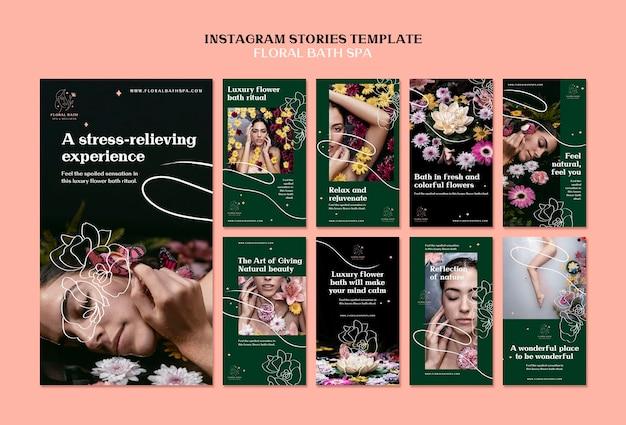 Blumen spa instagram geschichten vorlage Premium PSD