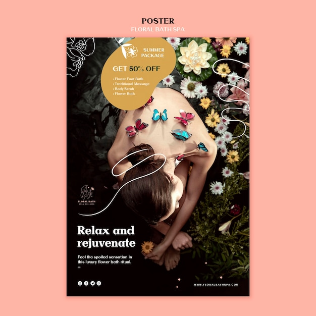 Blumen-spa-schablonenplakat Kostenlosen PSD