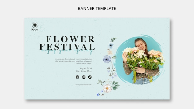 Blumenfestival-konzeptfahnenschablone Kostenlosen PSD