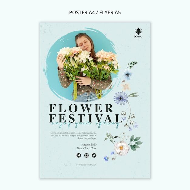 Blumenfestival-konzeptplakatschablone Kostenlosen PSD