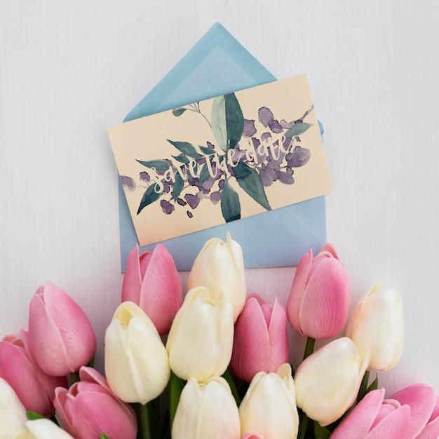 Blumenhochzeitseinladungsmodell-aquarell Kostenlosen PSD