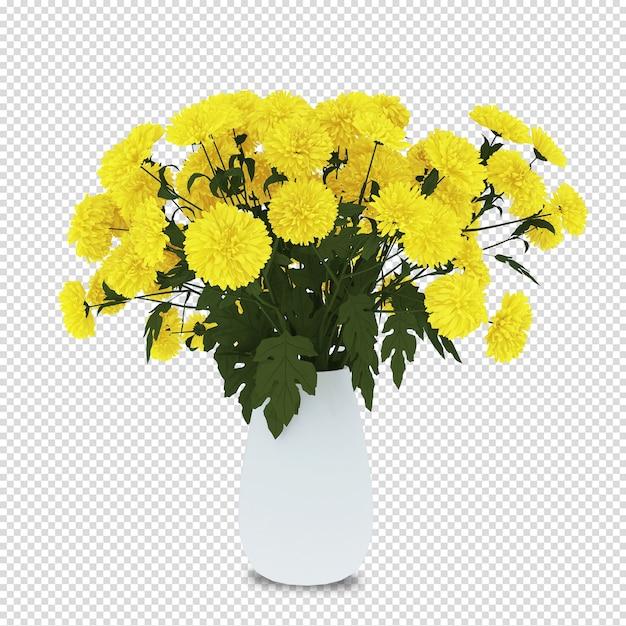 Blumenkorb im 3d-rendering Premium PSD