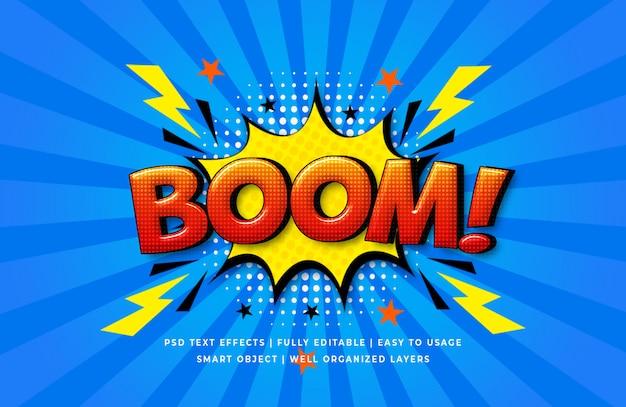 Boom-comic-rede 3d text style-effekt Premium PSD