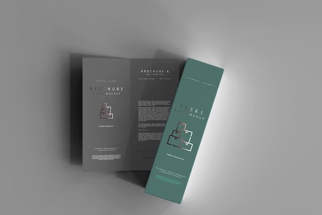 Box mit zweifach gefaltetem broschürenmodell Kostenlosen PSD