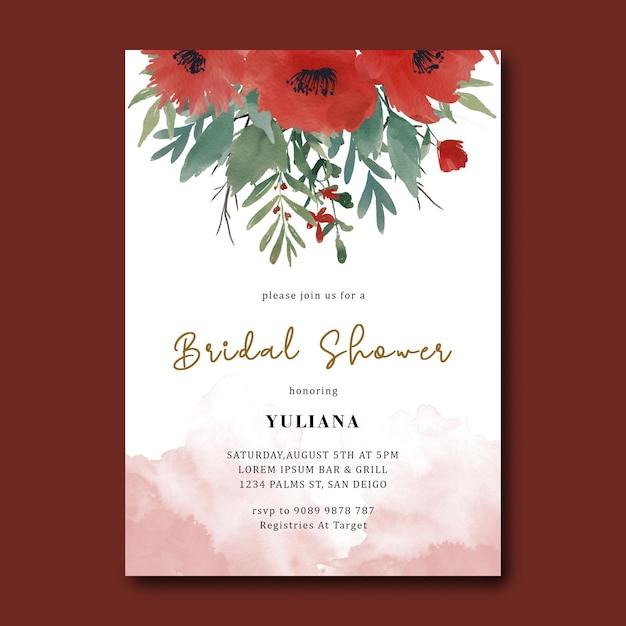 Brautpartyschablone mit einem roten blumenstrauß des aquarells Premium PSD